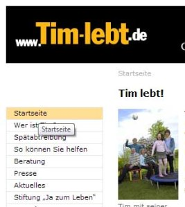 """Screenshot der Seite """"www.tim-lebt.de"""""""